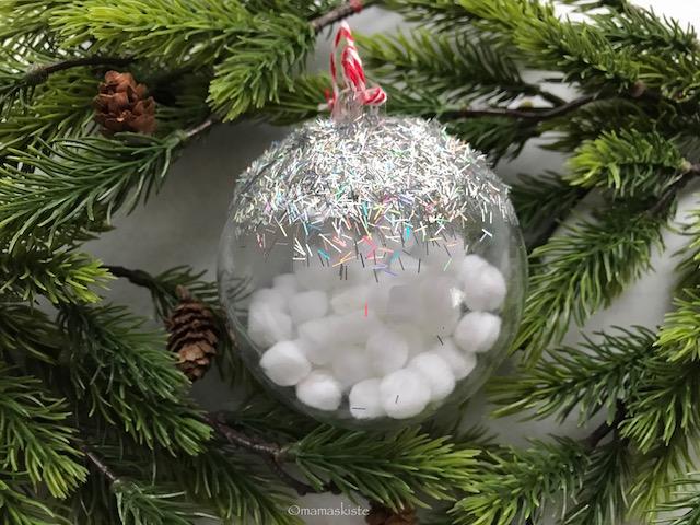 Weihnachtskugeln Schnee Glitzer