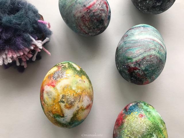 Ostereier färben mit Rasierschaum
